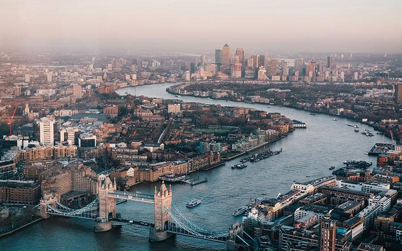 Looking down on Tower Bridge
