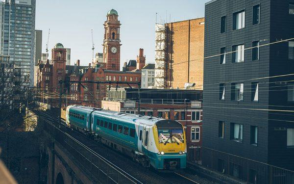 Train going through Manchester