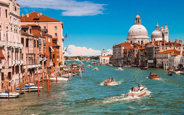 People sailing in boats in Venice