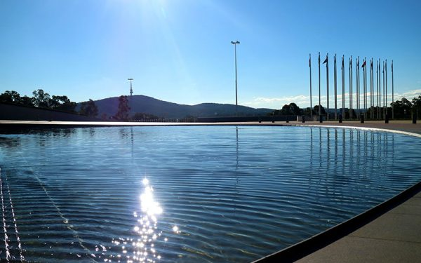 Man-made pond in Canberra