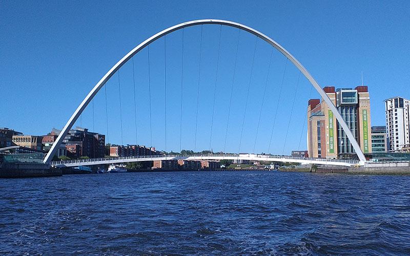 Water flowing under a bridge in Newcastle