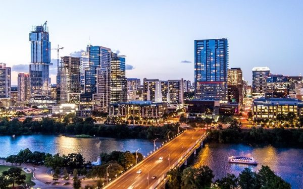 Austin skyline with lights