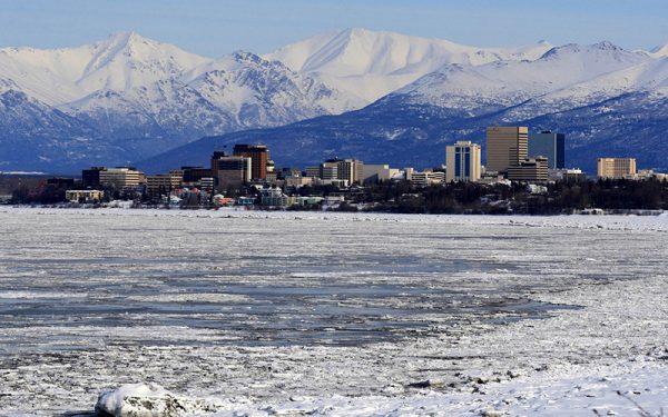 Snowy plains in Anchorage