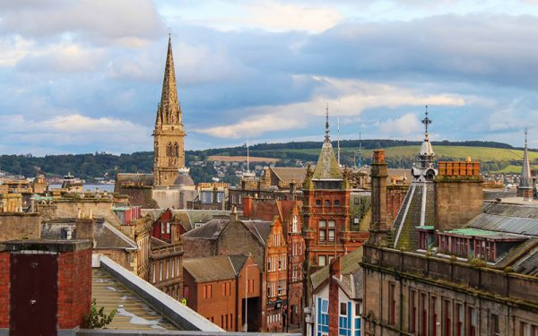 Dundee city with hills in the background