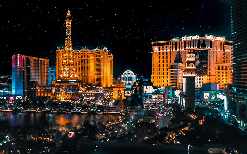 Starry night and bright lights in Las Vegas