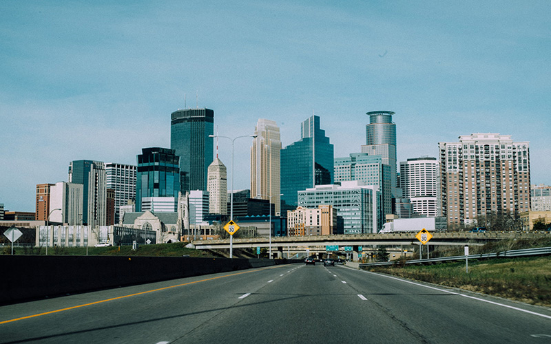 Empty road in Minneapolis