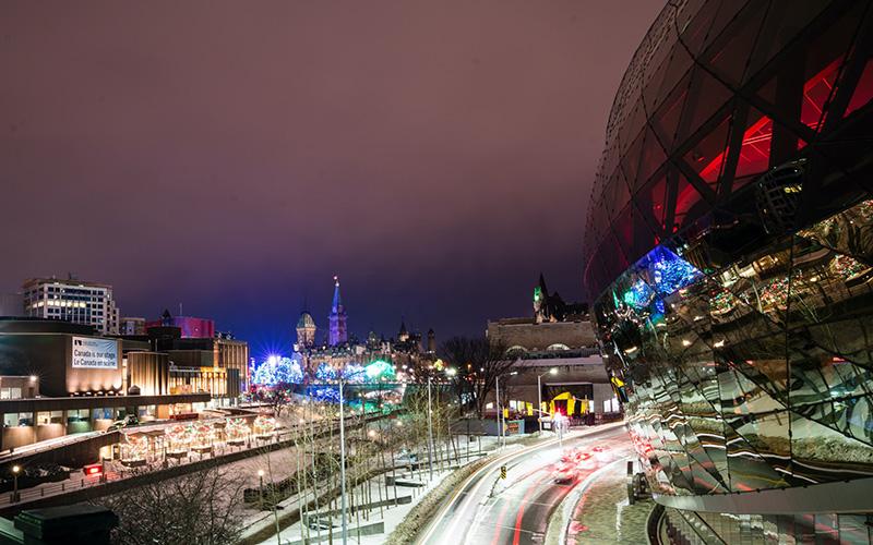 Ottawa at night with traffic trails