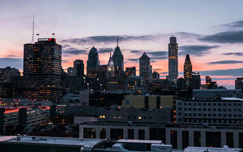 Sunset over Philadelphia buildings