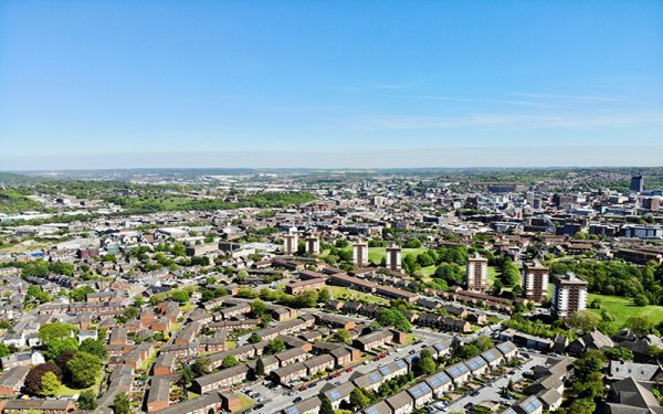 Aerial view of Sheffield and Yorkshire countryside