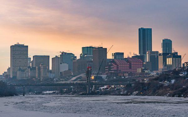 Sunset over Edmonton skyline