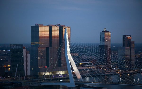 Modern architecture at night in Rotterdam